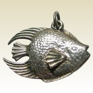 Sterling Silver Angel Fish Charm Three Dimensional