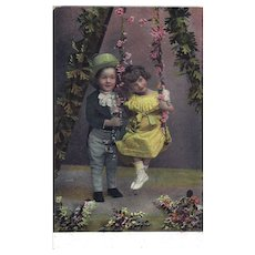 Real Photo Postcard Two Children Hand Tinted