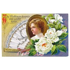 Nash Postcard Gilded Portrait Fan and Flower Postcard