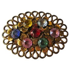 Large Pin Multicolor Stones Lacy Edge Brass Setting Czech Style