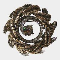 Wreath Pin Brooch Gold-tone Rhinestones Designer Signed ART
