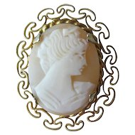 Shell Cameo  Frilly Gold-tone Bezel Setting