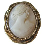 Shell Cameo Brooch Pin Petite Gold-tone Setting