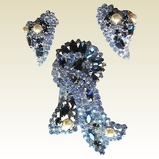 Rhinestone Demi Parure Juliana Style Dimensional Dark Blue and Baby Blue
