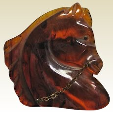 Bakelite Horse Head Pin Swirl Root beer Color with Rein