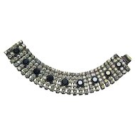 Rhinestone Bracelet Clear and Black Stones Elegant and Brilliant