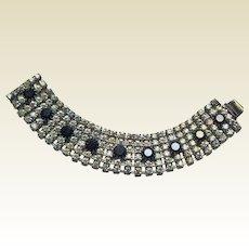 Rhinestone Bracelet Clear and Black Stones Elegant and Brilliant