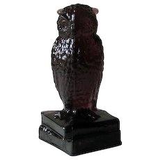 Degenhart Dark Amethyst Owl Figurine on Books Signed