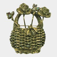Nantucket Style Basket Pin with Stick Pins and Bug