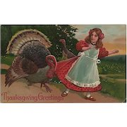 Thanksgiving Postcard Naughty Turkey Pulling on Girl's Dress