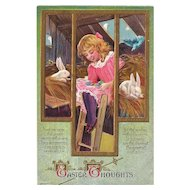 Easter Postcard Girl Bunny Rabbits Bird in Hay Loft