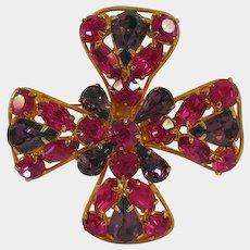 Maltese Cross Rhinestone Pin Brooch Hot Pink Stones