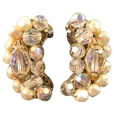 Crystal and Simulated Pearl Earrings: Vintage Earrings: Crystal Earrings: Collectible Earrings: Vintage Costume Jewelry