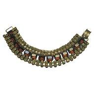 Wide Rhinestone Bracelet Citrine and Amber Colored Rhinestones / Rhinestone Bracelet / Collectible Vintage Jewelry / Fashion Jewelry / Mid-century Bracelet