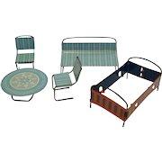 Doll House Tin Furniture / Baby's Furniture Set / Doll House Table / Doll House Bed / Vintage Doll House Furniture / Collectible Doll House Furniture