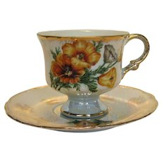 Luster Footed Cup and Saucer Poppy Design / Tea Cup Saucer
