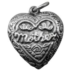 Mother Puffy Heart Charm Sterling Silver / Puffy Heart / Mother Heart / Collectible Heart Charm