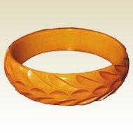 Bakelite Butterscotch Bangle Bracelet Deeply Carved Leaf Pattern
