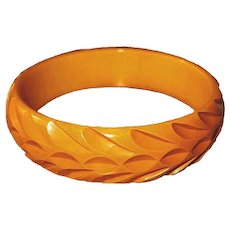 Bakelite Butterscotch Bangle Bracelet Deeply Carved Leaf Pattern