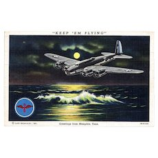 World War II Airplane Postcard Keep 'em Flying