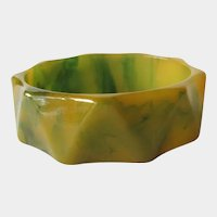 Bakelite Bracelet Creamed Spinach Color with Geometric Carving