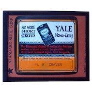 Glass Advertising Slide Yale Mono Cells Batteries