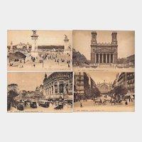 Paris Postcards Real Photo Sepia Tone / Group of Four Paris Postcards / Paris Street Scenes