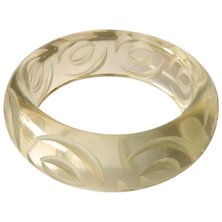 Lucite Carved Bangle Bracelet Clear Vintage Fashion Jewelry