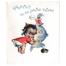 unused black americana christmas card old store stock black americana collectible vintage card