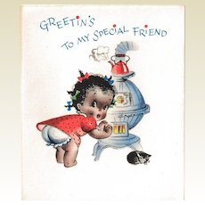 Unused Black Americana Christmas Card / Old Store Stock / Black Americana Collectible / Vintage Card / Humor /
