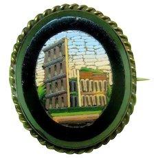 Vintage Micromosaic Pin Italian Ancient Ruins / Micromosaic / Vintage Pin / Collectible Micromosaic