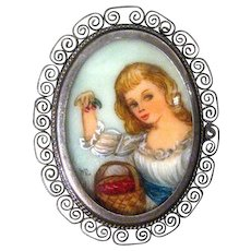 Hand Painted Portrait Pin / 800 Silver / Vintage Portrait Pin / Collectible Pin / Fashion Jewelry / Hand Painted Pin