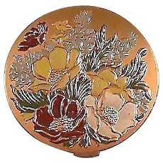 Vintage Hampden Compact Enameled Flowers / Hampden Compact / Enameled Flowers / Vintage Compact / Collectible Compact / Vanity Item