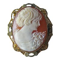 Exceptional Shell Cameo / Gold Filled Cameo / Vintage Cameo / Collectible Jewelry / Vintage Jewelry / Shell Cameo