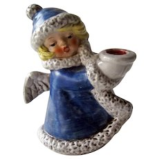 Goebel Angel Figurine / Goebel Angel with Candle Holder / Blue Coat Angel / Christmas Decor / Vintage Angel