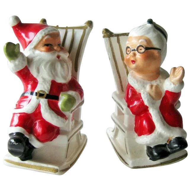 Santa Salt Pepper Shakers Mr And Mrs Santa In Rocking Chairs Antique Ables Ruby Lane