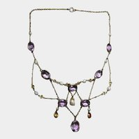Art Nouveau Festoon Necklace with Pearls Amethyst and Topaz Colored Stones / Lavalier Necklace / Vintage Estate Jewelry