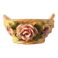 Elfinware Basket / Open Salt Cellar / Yellow Luster Basket