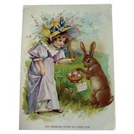 Vintage Easter Advertising Card / Trade Card / Coffee Advertising Card / Lion Coffee / Seasonal Advertising Card / Easter Trade Card / Easter Bunny / Extra Large Trade Card