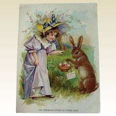 Vintage Easter Advertising Card / Trade Card / Coffee Advertising Card / Lion Coffee / Seasonal Advertising Card / Easter Trade Card / Easter Bunny / Extra Large Trade Card