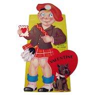 Mechanic Valentine / Boy in Kilt Valentine / 1930s Valentine / Collectible Valentine / Vintage Valentine / Ephemera