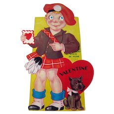 Mechanic Valentine / Boy in Kilt Valentine / 1930s Valentine / Collectible Valentine / Vintage Valentine / Ephemera