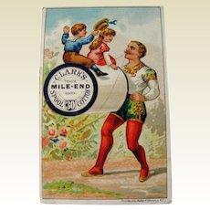 Clark's Thread Advertising Card / Circus Performer Trade Card / Sewing Advertising Card / Sewing Trade Card / Dressmaker Advertisement
