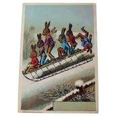 Trade Card Rabbits on Sled / Six Rabbits on Sled / Winter Scene / Collectible Trade Card / Vintage Advertising Card