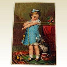 Advertising Card Girl and Kitten / VIntage Advertising Card / Collectible Trade Card / Ephemera / Tonic Advertising Card