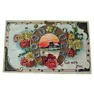 Embossed Good Luck Postcard / Horseshoe Postcard / Vintage Postcard / Ephemera