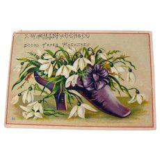 Vintage Advertising Card / Purple Shoe Trade Card / Show with Flowers / Ephemera / Collectible Advertising Card