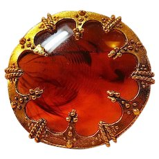 Lucite Tortoise Center Large Round Pin / Lucite Brooch / Fashion Jewelry / Collectible Pin / Vintage Pin