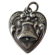 Bell Sterling Puffy Heart Charm Repousse / Vintage Sterling Heart / Collectible Heart Charm