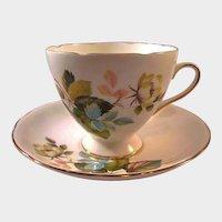 Gladstone Bone China Cup Saucer Flower Decoration / Staffordshore Cup Saucer / England Bone China